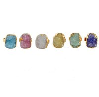Wholesale Multi Color Stone Rings - JLN Druzy Quartz Adjustable Ring Natural Geode Multi Color Crystal Stone Free Size Rings For Gift