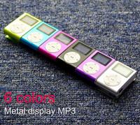 clip de metal mp3 venda por atacado-Tela LCD de Metal Mp3 Player de Música Portátil Clipe Mini Mp3 Player com Micro TF / Slot SD + Alta Qualidade Fones De Ouvido + Cabo USB