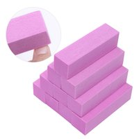nagelfeilen schwämme großhandel-4 Stücke Rosa Weiß Schleifschwamm Nagel Puffer Dateien Block Schleifen Polieren Datei Trimmer Pediküre Maniküre Nail art Tool UV Gel