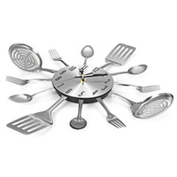 wanduhr gabel groihandel-Besteck Design Wanduhr Metall Messer Gabel Löffel Küche Uhren Kreative Moderne Wohnkultur Einzigartige Stil Wanduhr (Silber)