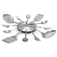 cuchillos únicos al por mayor-Diseño de cubiertos Reloj de pared Cuchillo de metal Tenedor Cuchara Relojes de cocina Creativo Decoración para el hogar Moderno Estilo único Reloj de pared (Plata)