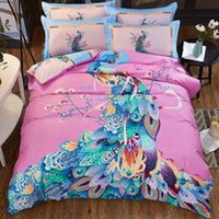 Wholesale king size peacock bedding - TUTUBIRD 100% cotton peacock bed linen bedding set for girl Chinese Ethnic Classical duvet cover bedclothes queen king size