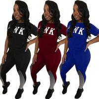 Wholesale Love Matching Clothes - Love Pink Letter Tracksuits Short Sleeve T shirt Top Tees+Pants 2pcs Clothing set Women summer Casual Yoga Jogger Suit Color Match Leggings