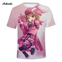 kılıç kız çevrimiçi toptan satış-Aikooki Sword Art Online 3D T-shirt Erkekler / Kadınlar Tshirt 3D Baskı Pembe Anime Tees Tops Boys / Kızlar T gömlek Serin Gömlek Üst Giysileri