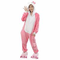 2017 Cute Dot Hello Kitty Cat Pajamas For Women Cartoon Pajamas Winter  Autumn Animal Onesie Warm Homewear Sleepwear Sets 80a7c1ffb