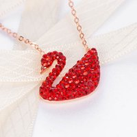 Wholesale white gold swan pendant for sale - Group buy Multi color super top quality women s gift necklace female personality crystal swan pendant collar bone chain fashion rose gold necklace