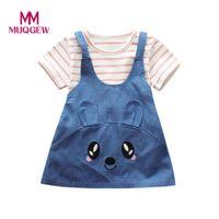 Wholesale Girl S Denim Dresses - 2Pcs set Baby Girls Stripe Cat Print Tops+Denim Dress Outfits Children Clothes Set Girls clothing drop shipping #S