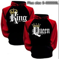 Wholesale Couple Outfit Clothing - Women and Men Couple's Clothes Letter Printed King Queen Hooded Outfits Couple Long Sleeve Match Hoodies Adult Lover's Pullover Sweatshirt
