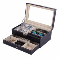 Wholesale painting organizer for sale - Group buy OUTAD Casket Wood Watch Box Double Layers Suede Inside Paint Outside Jewelry Storage Watch Display Slot Case Container Organizer