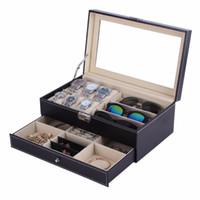 holzschmuck displays großhandel-OUTAD Schatulle Holz Uhrenbox Doppelschichten Wildleder innen Farbe außerhalb Schmuck Aufbewahrungsbox Uhren Display Slot Case Container Organizer