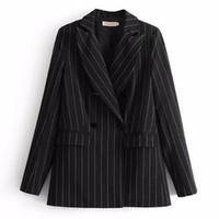 schwarzer weißer streifenmantel großhandel-Chic Black Kontrast Weiß Striped Blazer 2018 New Woman Kerbkragen Slim Fit Anzug Casual Jacket Coat Oberbekleidung schwarz