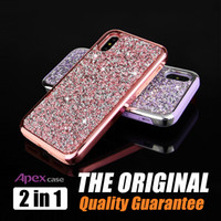 Wholesale Plastic Coverings - Premium bling 2 in 1 Luxury diamond rhinestone glitter back cover phone case For iPhone X 8 7 5 6 6s plus Samsung s8 note 8 cases