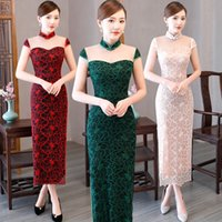 blumenkragen kleid muster großhandel-Frauen Party Kleider chinesischen Stil Stehkragen Vestidos Spitze Cheongsam Kleid Mandarin Retro Blumenmuster lange Sommerkleid