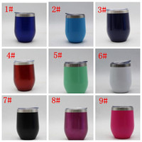 Wholesale Double Walled Coffee Glasses - 9oz egg cups wine glass Double Wall Stainless Steel Beer Vacuum Insulated mug drinking coffee Wine Cup 9 oz kids cups KKA5024