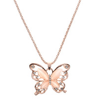 ingrosso oro della collana della farfalla-Collana con ciondolo a forma di farfalla in opale in oro rosa Collana con ciondolo in cristallo a forma di ciondolo con catena a forma di donna