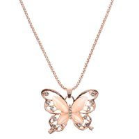 colar de cristal opala venda por atacado-Rose Gold Opal Borboleta Pingente de Colar de Cristal Oco Longo Colar de Mulheres Moda Senhora Camisola Cadeia Presente Charme