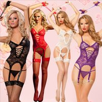 Wholesale three point perspective - Europe Fashion 2018 Women's Lingerie Perspective Three Point Suits Contain The Garter Female Outfit Sexy Lingerie