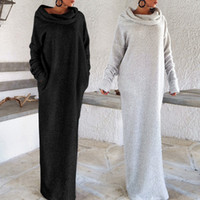 Wholesale Off Shoulder Turtleneck - Heaps Collar Pocket Long Dress Puff Sleeve Irregular Fleece Off Shoulder Women Turtleneck Casual Loose Robe OOA4160