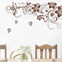 ingrosso decorazioni farfalle marrone-Fai da te farfalla marrone fiore vite wall stickers home decor soggiorno frigorifero art decalcomanie della parete decorazione d'interni ZI-330