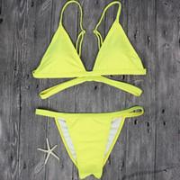 sexy gelbe bikinis großhandel-Drahtfrei Marke Gelb Frauen Badeanzug Sexy Brasilianischer Tanga Bikini Badeset Badebekleidung Frau Niedrige Taille Strand Bikini Badeanzug