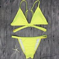 biquíni de tanga amarela venda por atacado-Fio Livre Marca Mulheres Amarela Swimsuit Sexy Brasileira Tanga Biquíni Swim Set Swimwear Mulher Cintura Baixa Praia Biquíni Maiô