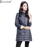 Wholesale Winter Coats For Women Sale - Gamiss 2017 Hot Sale Casual Coat Parkas For Women Winter Female Snow Warm Jacket Long Thin Duck Down Coat For Laides
