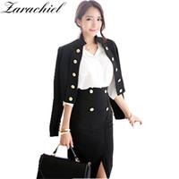 2601e463ff8 Office Lady 2 Piece Set Bodycon Work Suit Dress Korean 2018 Spring Women  Slim Blazer Button Short Jacket+Pencil Split Skirt Suit