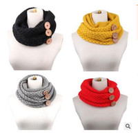 Wholesale Chunky Rings Women - Scarf Brand Luxury Women Winter Warm Knit Infinity Button Scarfs Crochet Pattern Basic Chunky Big Button Knit Snood Ring Scarf Free Shipping