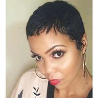 pelucas delanteras del cordón humano real al por mayor-Pixie corta pelucas cortas de cabello humano para mujeres negras Ninguna peluca delantera de encaje con cabello de bebé para africanos Peluca humana brasileña para mujeres negras
