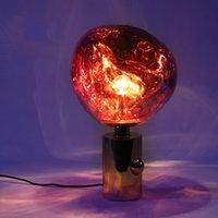 tom dixon lamba bakır toptan satış-Tom Dixon Tasarımcı Lüks LED Lamba Kırmızı Bakır Yaratıcı Lava Masa Lambası Aydınlatma