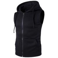 карманы мужского жилета оптовых-NIBESSER  2018 Vest Men Fashion Solid Sleeveless Hoodies Cardigans Jacket Autumn Causal Zipper Pockets Mens Vest Waistcoat
