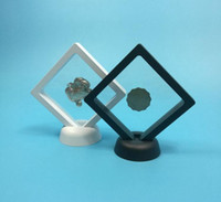 400PCS Black white Suspended Floating Display Case Jewellery Coins Gems Artefacts Stand Holder Box SN2037