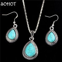 mavi kolye doğal taş toptan satış-SOHOT Bohemia Takı Seti Doğal Mavi Taşlar Su Damlası Kolye Kolye Dangle Küpe Vintage Gümüş Renk Kadın Aksesuarları