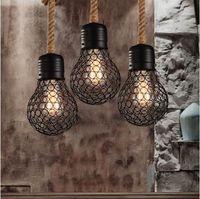 endüstriyel stil aydınlatma kolye toptan satış-Vintage halat kolye ışık edison ampul Amerikan Tarzı metal kafes lamba restoran yemek odası ışıkları endüstriyel bar aydınlatma