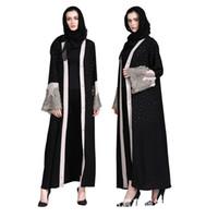 mujeres islámicas kaftan al por mayor-Mujeres Musulmanes Cardigan Abaya Diamante Bordado Vestido Turco Contraste Color Dubai Kaftan Oriente Medio Batas Ropa Islámica Jalabiya