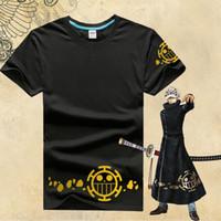 lei do cosplay venda por atacado-Anime japonês One Piece Camiseta Trafalgar Lei Camisa Logotipo Tee Macaco D Luffy Anime Lei Personalizado Curto Verão T-shirt Cosplay