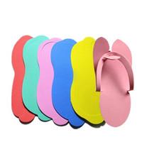 Wholesale disposable thongs - EVA Foam Slippers Disposable Salon Spa Pedicure Thong Babouche Multi Color Sponge Bathing Baboosh Hot Sale 8hx C RW
