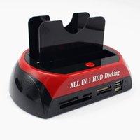 3,5 inç hdd sata toptan satış-Kebidu HDD Yerleştirme Istasyonu Çift USB 2.0 2.5 3.5 Inç IDE SATA Harici HDD Kutusu Sabit Disk Sürücüsü Muhafaza Kart Okuyucu