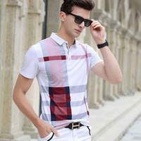 erkekler gömleklik gömlek satışı toptan satış-Erkekler Gömlek Sıcak Satış Yeni ekose 2017 Yaz Moda klasik rahat Kısa Kollu Ünlü Marka Pamuk Kafatası Yüksek kalite tops