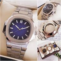caja de reloj deportivo al por mayor-Luxury Top Nautilus Sports Watch Men Brand Relojes automáticos Monement Rose Gold Case Back Blue Dial inoxidable para hombre Relojes mecánicos