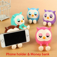Wholesale cute pink cell phones for sale - Group buy Portable Cute Owl Phone Holder Mobile Cell Phone Stent Stand Money Box Coin Bank Storage Phone Holder