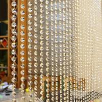 decoraciones de cristal de sala al por mayor-1 UNIDS Prety Crystal Glass Bead Cortina de Lujo Sala de estar Dormitorio Ventana de la Puerta Decoración de la boda