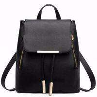 leder japanische mädchen großhandel-Black School Supplies Rucksack Female PU Leder Rucksack Japanese Street Bag Damen Schultasche für Jugendliche Mädchen Rucksäcke