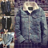 Wholesale Denim Jacket Lining - fashion Mens Western Vintage Fleece Jacket Fur Lining Coat Jean Denim Single Breasted