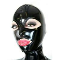 ingrosso bella cosplay-Cappe in lattice puro al 100% apri EyesMouth per Catsuit Bella copricapo ragazza Gomma Fetish Mask Cosplay Party Wear Costumi fatti a mano