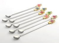 Wholesale Wholesale Korean Ice Cream - Stainless Steel Coffee Spoon Ladles Korean Flower Shaped Handle Round Spoon Multifunction Ice Cream Dessert Tea Spoon Free Ship