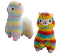 Wholesale kawaii stuffed animals online - 20cm Cute Rainbow Llama Alpacasso Stuffed Doll Kawaii Animal Alpaca Soft Plush Toys for Kids Christmas Birthday Gifts MMA781