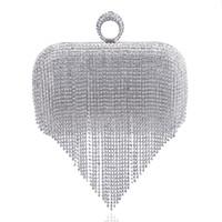 Wholesale key ring split bronze - 2017 Tassel Rhinestone Finger Ring Evening Bags Diamonds Wedding Handbags Women Day Clutch Mini Purse Bag With Chain Mixed Color