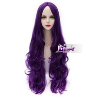 Wholesale purple hair lolita cosplay online - New Dark Purple CM Long Curly Hair Lolita Women Daily Party Cosplay Wig
