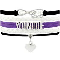 pulseira infinidade branco venda por atacado-(10 pçs / lote) infinito amor younique multicamadas envoltório pulseira pulseiras de couro preto roxo branco para as mulheres moda jóias c18111601